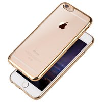 Wholesale Iphone Back Top Bottom - New Electroplate Transparent TPU Case For iPhone 6 6S 7 Plus & Top Bottom Electroplating Soft Clear Back Skin Phone Cover Support Mix model