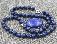 Wholesale Jade Pendants Face - AAA Natural 8mm Egyptian Lapis Lazuli Gemstone pendant Necklace 18''18X25MM