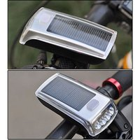 Wholesale Solar Bike Head Lights - Wholesale- Cycle zone Bike Bicycle Lights 4 LED Solar Power USB 2.0 Rechargeable Light Lamp Front Headlights for Cycling