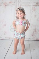 Wholesale Sexy Kids Bathing Suit - 2017 News Ins Hot Sale Girl Broken Flower Tops+Bownot Shorts Two Piece Sets Kids Sexy Bikini Soft Cotton Bathing Suit
