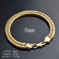 Wholesale Gold Bracelets For Boys - Luxury Men Chain Bracelet High Quality 18K Yellow Gold Plated 8mm 21cm Chain Bracelet for Men Women Nice Gift for Boy Griend BCL-007