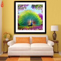 Wholesale Peacock Oil Painting Framed - YGS-239 DIY 5D Diamond Embroidery animal Peacock Round Diamond Painting Cross Stitch Kit Mosaic Painting Home Decoration