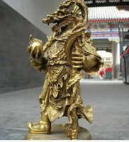 Wholesale Chinese Brass Statues - Chinese Temple myth Refined Pure brass Copper sea dragon King God buddha statue