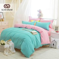 Wholesale Slow Dream Plain Double Bedding Set Dark Green And Pink Solid Color Duvet Cover Set Soft Polyester Flat Sheet