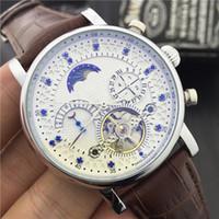 Wholesale Butterflies Clock - Hot Fashion Luxury Brand Swiss Watch leather Tourbillon Watch Automatic Men Wristwatch Men Mechanical steel Watches relogio masculino clock