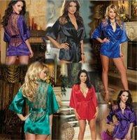 robe g string dessous großhandel-100 stücke 5 design Frauen Spitze Bademantel Kimono mit G-string Taille Sexy Dessous Nacht Robe Pyjamas Morgenmantel M012