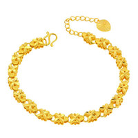 Wholesale 24k Pure Gold Jewelry - (234B) ( 215*6mm ) 24k Pure Gold Filled Embroidery Flower Bracelets Jewelry For Women High Quality Nickel Lead Free