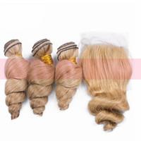 renk 27 kıvırcık toptan satış-Saf Renk Bal Sarışın 27 Gevşek Dalga Saç Atkı Kapatma Ile Malezya Bakire Saç Örgüleri Uzatma Gevşek Kıvırcık Saç Üst Kapatma Ile