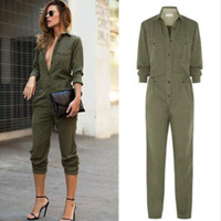 Atacado- 2016 New Autumn Fashion Women's Ladies mangas compridas Turn-down Collar Slim Full Body Romper Jumpsuits Exército verde