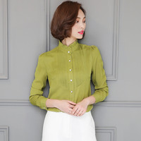 Wholesale Clothes For Office Lady - Women Ruffled Chiffon Blouse Office Work Shirts OL Blouses Formal Tops Long Sleeve For Ladies Spring Autumn Clothes New Fashion White Green