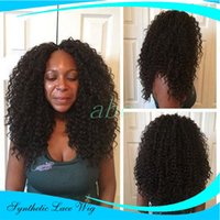 Wholesale Japanese Realistic - Cheap Realistic Looking Synthetic Lace Front Wigs For Black Women With Baby Hair-Soft Japanese Fiber Glueless Synthetic Afro Kinky Curly Wig