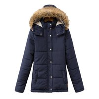 Wholesale Long Padded Hooded Coats Women - Winter Jacket Women Dark Blue And Red 2015 Women's Fashion Slim Caps Collar Long-sleeved Cotton Down Coat Padded Coats H77