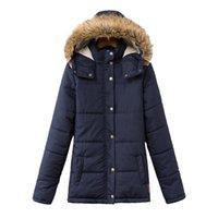 Wholesale Dark Blue Women Fur Coat - Winter Jacket Women Dark Blue And Red 2018 Women's Fashion Slim Caps Collar Long-sleeved Cotton Down Coat Padded Coats H77