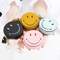 Wholesale Smile Wallet - Wholesale- Lovely Cartoon Small Coin Purse Women's Purse Smiling Face Pill Eye Interesting Tassels Bag Pendant Girls Leather Wallet