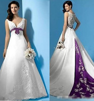 Wholesale Pleated Empire Waist Garden Bridal - Best Selling White and Purple Satin A-Line Wedding Dresses Empire Waist V-Neck Beads Appliques Bow 2017 Bridal Gowns Custom Made Cheap