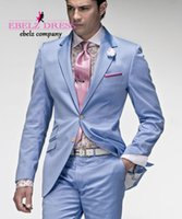 Wholesale Cheap Light Grey Suits Men - Sell like hot cakes! Glamorous Design Graceful Cheap Groom Light Blue Tuxedos Summer Mens Suits.