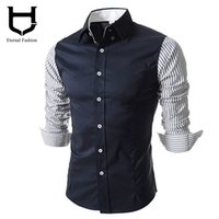 Wholesale Korean Clothing Imports - Wholesale- Patchwork Camisas Social Office Shirts for men Korean Fashion men's shirts long-sleeved shirts Clothing for man hombre imported