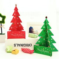 Wholesale Wholesale Green Greeting Cards - Wholesale- 6pcs lot DIY Creative 3D Christmas Tree Shaped Greeting Cards Hot Sale Red Green Folding Xmas Gift Postcard Decorative Card WZ