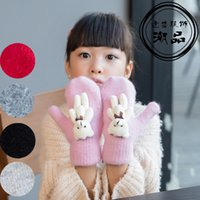 Wholesale Cashmere Rabbit Gloves - Wholesale- Autumn Winter Girls Cashmere Gloves Cartoon Bear Rabbit Fur Wool Mitten Gloves Sweet Elegant All Match Kids Grey Gloves