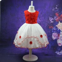 Wholesale United Stereo - Europe and the United States Virgin skirt color dress girls stereo flower dress in child Princess Dress