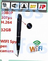 Wholesale Pen Hide Hd Camera - 1080p HD Wireless Wifi Ip Hidden Spy Pen Video Camera for Android And Ios, H.264 Mini with Built-in DVR Hidden Pen Remote Network Cam
