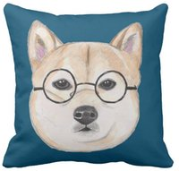 oversized throw pillows - Throw Pillow Case Shiba Inu with Oversized Round Framed Glasses Squar Sofa Cushions Cover quot inch inch inch quot Pack of X