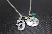 """Wholesale Alloy Personalized Necklace - 12pcs lot personalize Necklace """"I'm Really A Mermaid""""crystal necklace antique silver Mermaid charm Pendant Necklaces"""