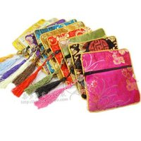 Wholesale cheap coin pouches - Cheap Tassel Small Zipper Bag Coin Purse Travel Jewelry Bracelet Bangle Storage Pouch Chinese Silk brocade Cloth Packaging Pocket 10pcs lot