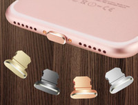 Wholesale Anti Dust Charger Cap Plug - Aluminum alloy Stopper Cap + Keeper Anti Dust Plug Lighting Plug Jack Charger Port Plug for iPhone 7 for iPhone 7 Plus