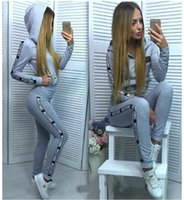 Wholesale Long Sleeve Suit Leisure - 2017 PINK new Tracksuit Women Spring Autumn Casual Suit (Hooded Sweatshirt+Long Pants) Zipper Leisure Suits high quality free shipping