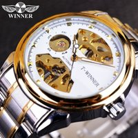 Winner 2016 Nouveau Designer Transparent White Golden Casual Squelette en acier inoxydable Montres pour hommes Top Brand Luxury Mechanical Watch