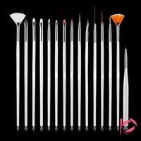 дизайн розовых ногтей оптовых-Горячая продажа 15 шт. / компл. Nail Art Brush Set живопись расставить дизайн белый / розовый ручка советы набор инструментов Pro Nail-Art Liner Kit DHL бесплатно