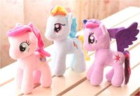 "Wholesale Cute Stuffed Horse Toys - 1pcs 7"" 18cm Cute Rainbow Horse Toys Cartoon Toys Hobbies Stuffed Dolls Movie TV Stuffed Plush Animals Little Horse BaoLi"