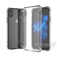 espalda de cristal de iphone al por mayor-Estuche transparente para iPhone X XS Max iPhone XR Samsung S9 Plus Estuche suave de aire TPU + Cubierta trasera de acrílico duro