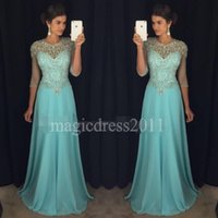 Wholesale Sexy Celebrity Club Wear - Chic Blue Prom Evening Dresses 2017 A-Line Sheer Neck Rhinestones Major Beaded 3 4Long Sleeves Chiffon Formal Party Gowns Celebrity Dress