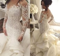 Wholesale charming elegant sexy lace backless mermaid for sale - Group buy Charming Elegant Wedding Dresses with Sheer Long Sleeves Mermaid Appliques Lace Tulle Bridal Gowns With Tiered Skirts vestido de noiva