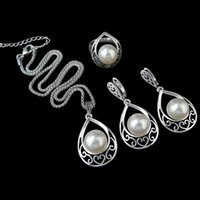 ashion Ювелирные наборы Sellsets Серебряный цвет Vintage Jewellery Fashion Hollow Out Water Drop с имитацией Pearl Jewelry Sets For Women We ...