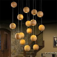 Wholesale Modern Wood Lighting Chandeliers - Modern LED Wood Chandelier Creative Wooden Ball Pendant Lamp Wood Pendant Light Meteoric Shower Stair Light Restaurant Chandelier Light