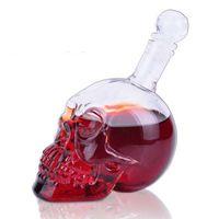 Wholesale Skull Hip Flask - 350ML Crystal Skull Hip Flask Mini Whiskey Vodka Wine Flask Bottle Glass Cup Flagon Drinkware Shot Glasses Bottle with Retail Box