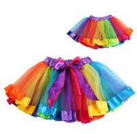 Wholesale Hot Christmas Mini Skirt - 2017 hot New sell 7colors Fluffy Handmade rainbow tutu skirt colorful cheap girl skirt dance skirt