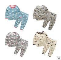 Wholesale Panda Tee - Baby Clothing Sets Panda Bear Cotton Fall Underwear Suits Cartoon Long Sleeve Tops Pants Kids Tees Trousers Outfits Animal Kid Clothes J428