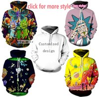 Wholesale Long Sweater Xs - New Fashion Couples Men Women Unisex Rick and Morty 3D Print Hoodies Sweater Sweatshirt Jacket Pullover Top S-5XL TT23