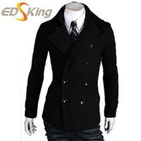 Wholesale Casaco Inverno Masculino - Wholesale- 2016 New Arrival Brand Winter Woolen Suit Men Double Breasted Brick Red Slim Fit Pea Coat For Man Casaco Masculino Inverno