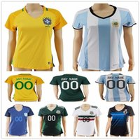 Wholesale Short Shirt White Girl - Women Soccer Jersey Colombia Yellow Mexico Green Brazil Blue White Argentina Japan Home Ladies Girls Football Shirts Thai Quality