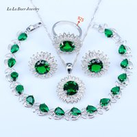 Wholesale B 925 China - L&B 925 Sterling Silver Jewelry Sets For Women Green Emerald Silver Color Nice Bracelets Necklace Pendant Earrings
