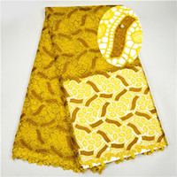 Wholesale Swiss African Lace Fabric Wholesale - Yellow Color Embroidery African Cord Laces Swiss Guipure Lace Fabric with Beaded For Nigerian Wedding Dresses