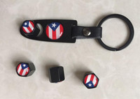 Wholesale Bmw Wheels - 1Set Puerto Rico Flag Leather Buckle keychain& Tire Valve caps Wheel Tyre Valve Stem Air Cap Cover caps air dust cap Fit for BMW Audi