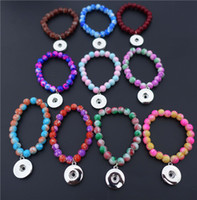 Wholesale Kids Girls cm Length Glass Beads Noosa Chunks Metal Ginger mm Snap Buttons Bracelet Jewelry Mix Colors