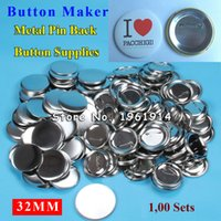 """Wholesale Pinback Button Set - Wholesale- 1-1 4"""" 32mm 100 Sets NEW Professional All Steel Badge Button Maker Pin Back Metal Pinback Button Supply Materials"""