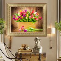 Wholesale lily canvas paintings - YGS-361 DIY 5D Diamond Embroide The Beautiful lilies Round Diamond Painting Cross Stitch Kits Diamond Mosaic Home Decoration